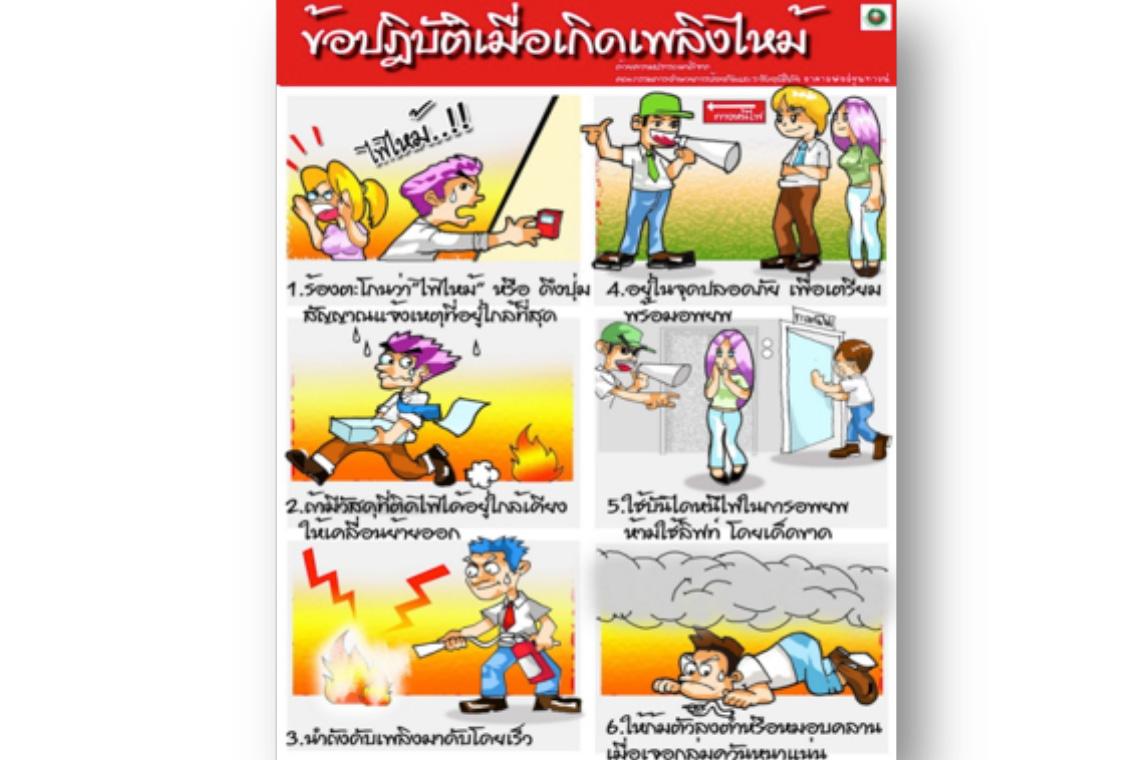 4. ข้อปฎิบัติเมื่อเกิดเพลิงไหม้
