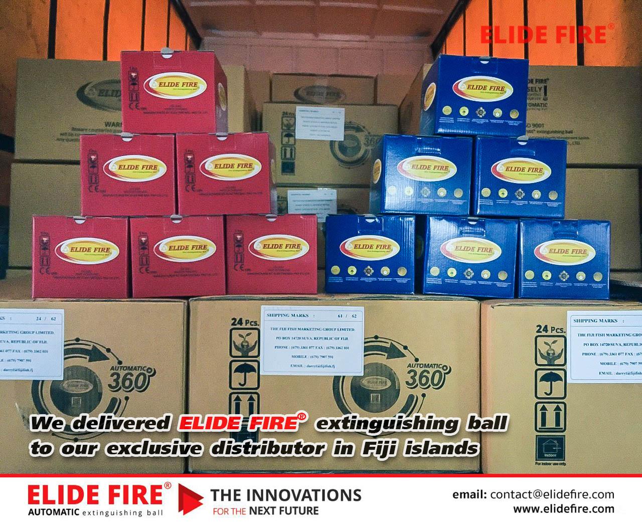 ส่งมอบทันตามกำหนด 25 มีนาคม 2562 ส่งมอบสินค้าลูกบอลดับเพลิง ELIDEFIRE® ให้กับตัวแทนจำหน่ายเพียงผู้เดียวประจำประเทศฟิจิ (Fiji islands)