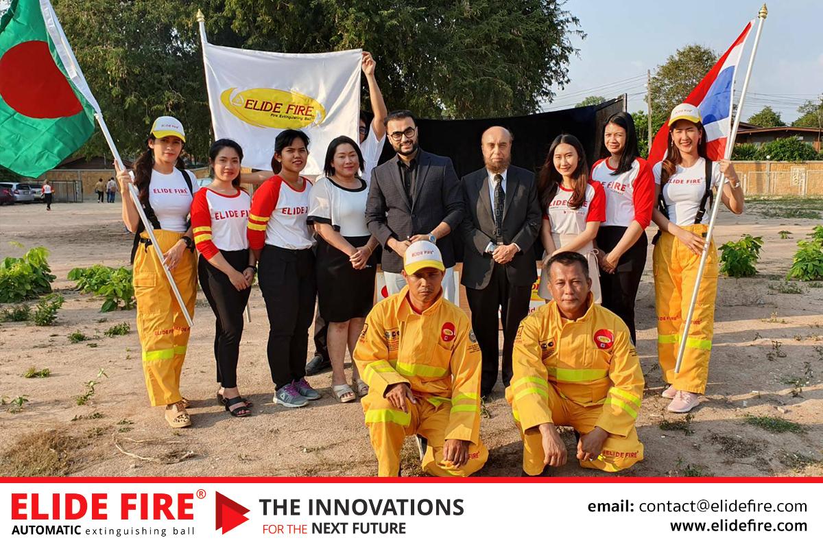 ลูกบอลดับเพลิงฝีมือคนไทย ก้าวไกลบังคลาเทศ พิธีลงนามสัญญาระหว่าง บริษัท อิไลด์ ไฟร์บอล โปร จำกัด กับ SONIC GROUP. สำหรับการเป็นตัวแทนจำหน่ายแต่เพียงผู้เดียวของ ELIDE FIRE® ประจำบังคลาเทศ