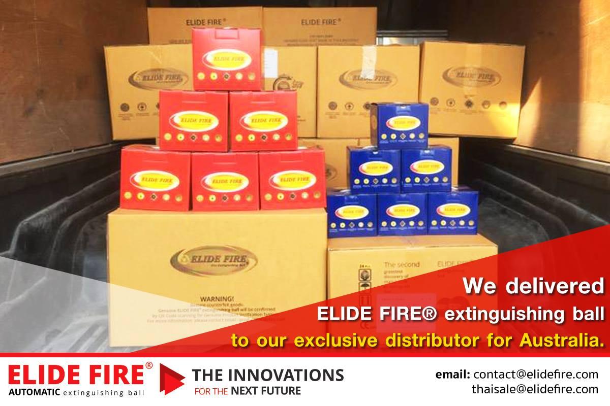 ELIDE FIRE® BALL GOING TO AUSTRIA. ส่งมอบสินค้าลูกบอลดับเพลิงให้ตัวแทนจำหน่ายประเทศออสเตเลียเรียบร้อย