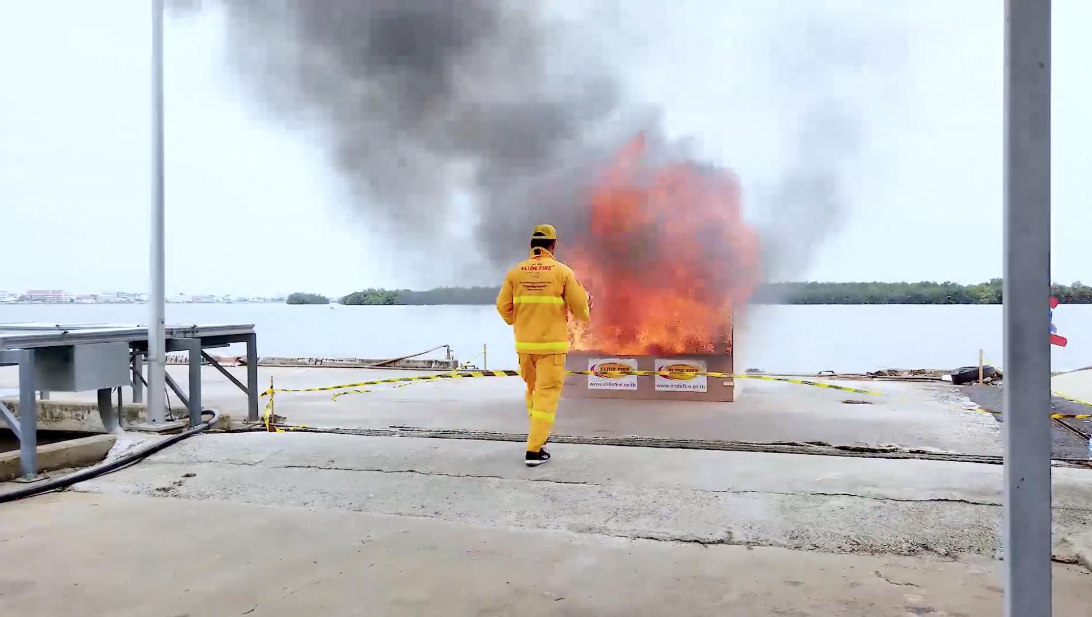 ทดสอบประสิทธิภาพ ลูกบอลดับเพลิง ELIDE FIRE® ในงาน Day of the Seafarer 2019